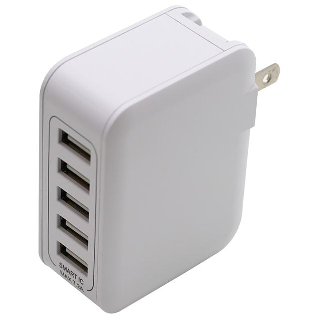 5台同時充電7.2A Smart IC対応AC充電器